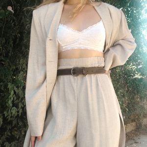 vintage minimalist beige suit set
